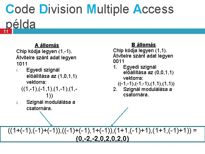 Code Division Multiple Access példa 11 A állomás Chip kódja legyen (1, -1). Átvitelre