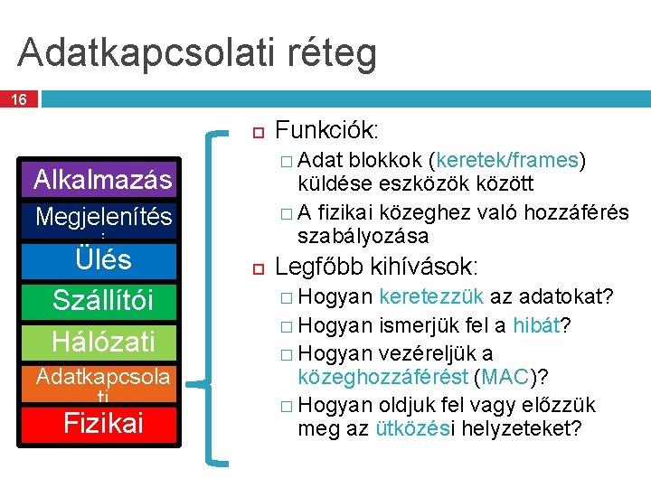 Adatkapcsolati réteg 16 � Adat blokkok (keretek/frames) Alkalmazás i Megjelenítés küldése eszközök között �