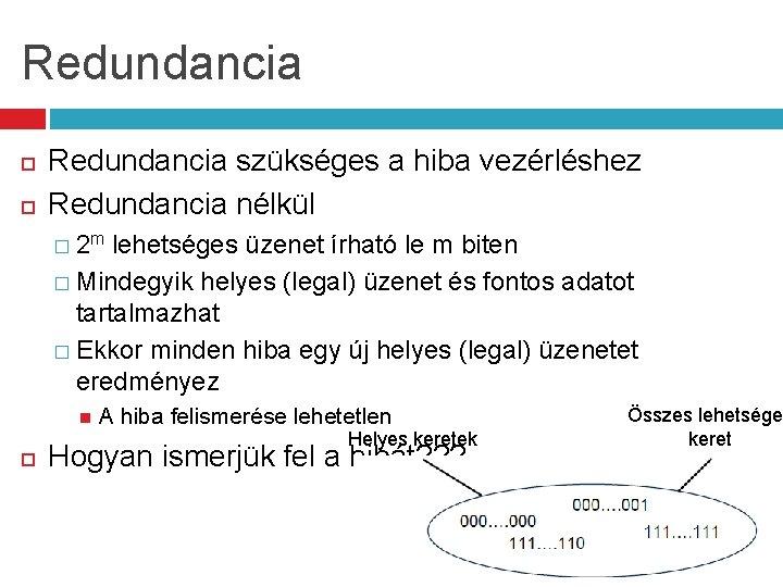 Redundancia szükséges a hiba vezérléshez Redundancia nélkül � 2 m lehetséges üzenet írható le