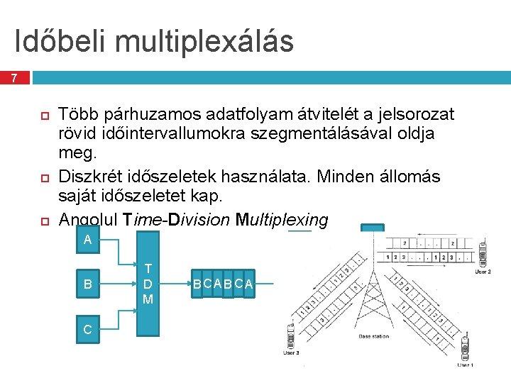 Időbeli multiplexálás 7 Több párhuzamos adatfolyam átvitelét a jelsorozat rövid időintervallumokra szegmentálásával oldja meg.