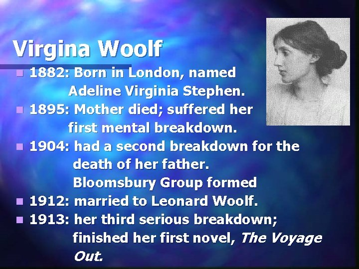 Virgina Woolf n n n 1882: Born in London, named Adeline Virginia Stephen. 1895: