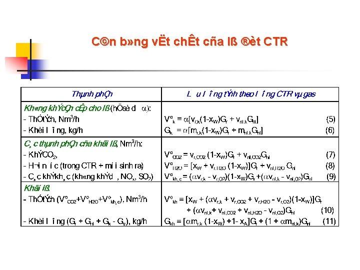 C©n b» ng vËt chÊt cña lß ®èt CTR
