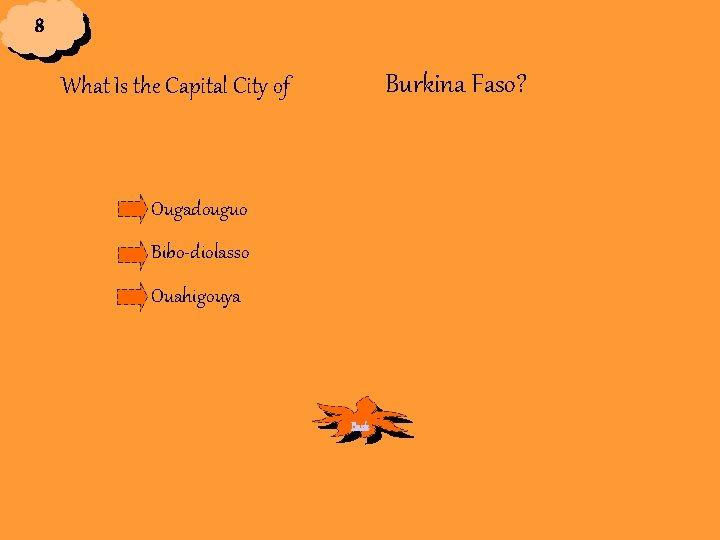 8 Burkina Faso? What Is the Capital City of Ougadouguo Bibo-diolasso Ouahigouya Back