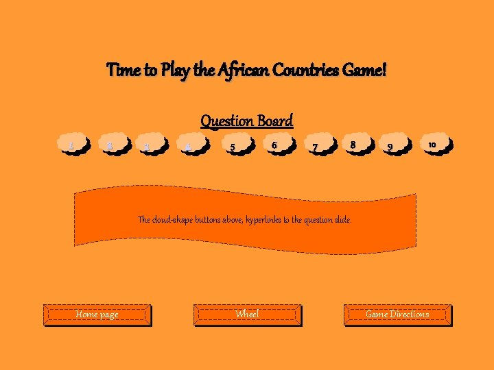 Time to Play the African Countries Game! Question Board 1 2 3 4 5
