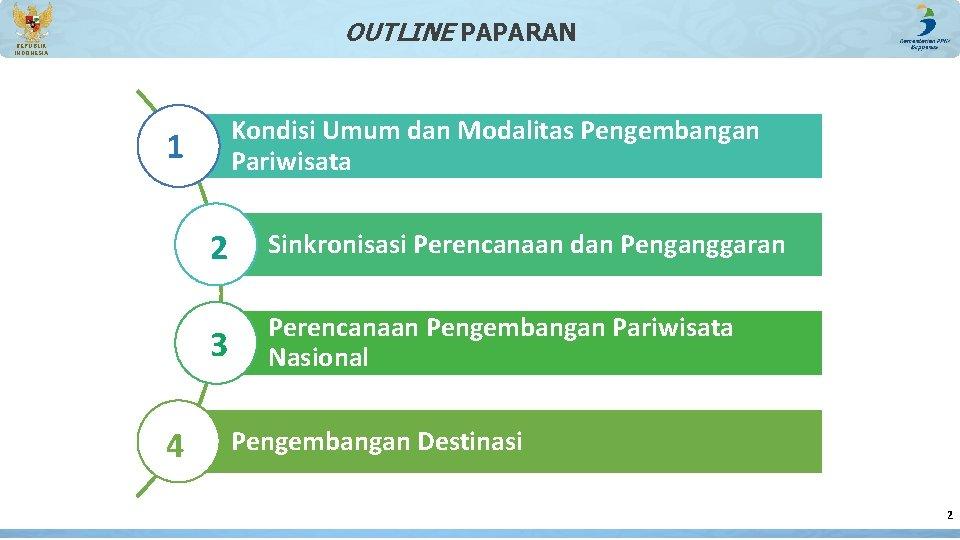 OUTLINE PAPARAN REPUBLIK INDONESIA Kondisi Umum dan Modalitas Pengembangan Pariwisata 1 4 2 Sinkronisasi