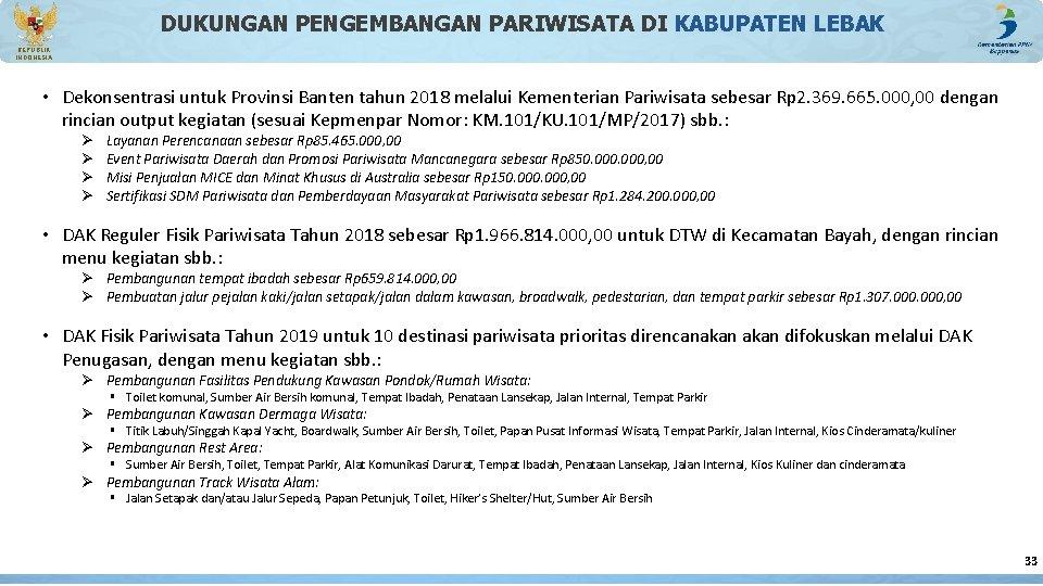 DUKUNGAN PENGEMBANGAN PARIWISATA DI KABUPATEN LEBAK REPUBLIK INDONESIA • Dekonsentrasi untuk Provinsi Banten tahun