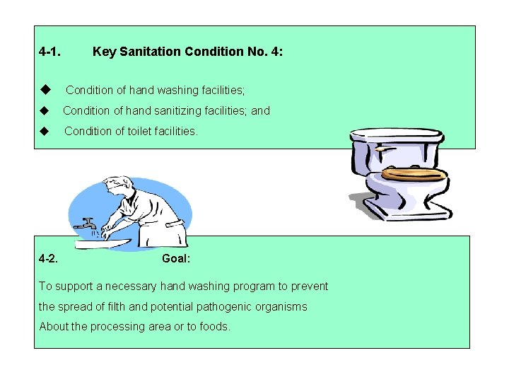 4 -1. Key Sanitation Condition No. 4: Condition of hand washing facilities; Condition of