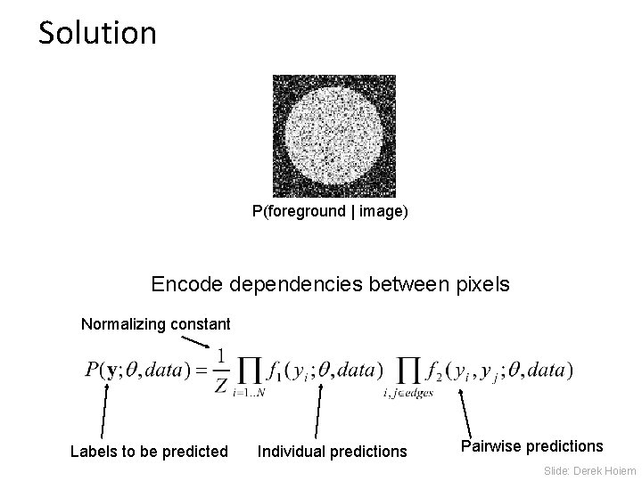 Solution P(foreground   image) Encode dependencies between pixels Normalizing constant Labels to be predicted