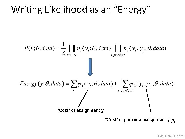 """Writing Likelihood as an """"Energy"""" """"Cost"""" of assignment yi """"Cost"""" of pairwise assignment yi"""