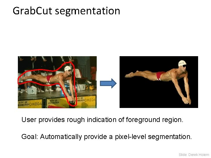 Grab. Cut segmentation User provides rough indication of foreground region. Goal: Automatically provide a