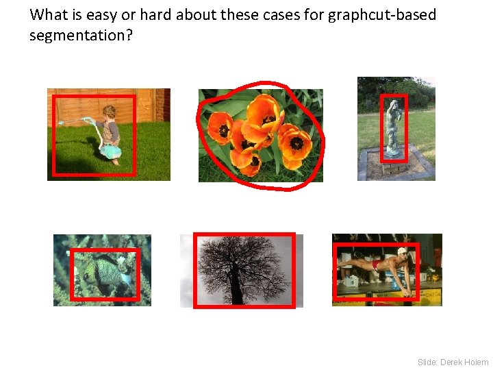 What is easy or hard about these cases for graphcut-based segmentation? Slide: Derek Hoiem