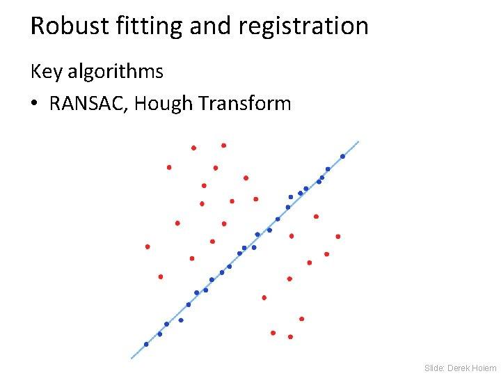 Robust fitting and registration Key algorithms • RANSAC, Hough Transform Slide: Derek Hoiem