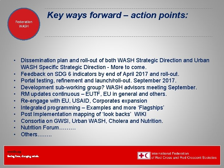 Federation Health WASH Wat. San/EH Key ways forward – action points: • Dissemination plan