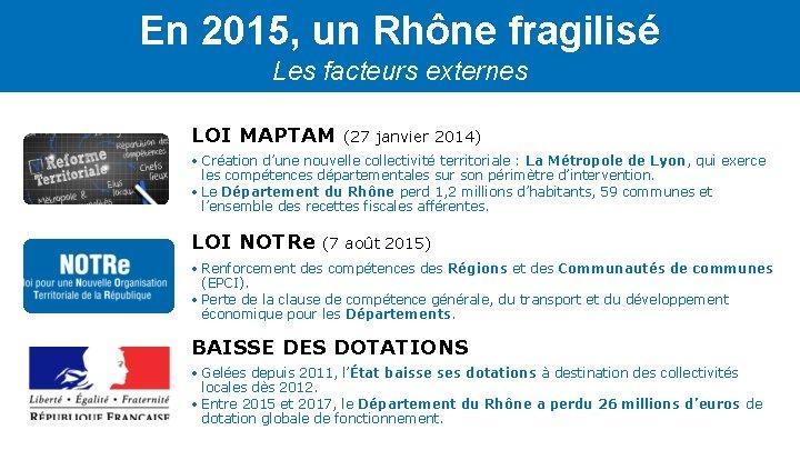 En 2015, un Rhône fragilisé Les facteurs externes LOI MAPTAM (27 janvier 2014) •