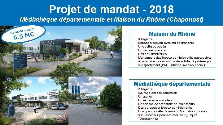 Projet de mandat - 2018 Médiathèque départementale et Maison du Rhône (Chaponost) Coût t