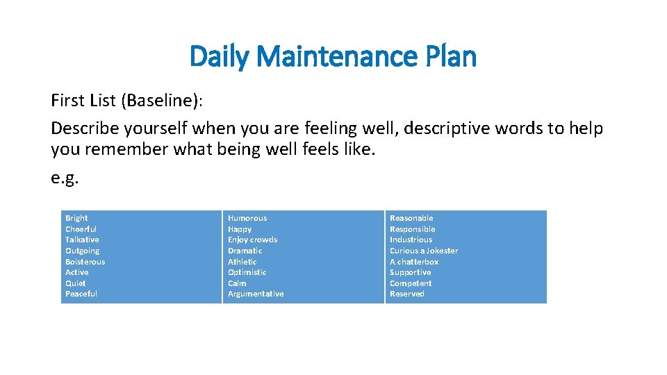 Daily Maintenance Plan First List (Baseline): Describe yourself when you are feeling well, descriptive