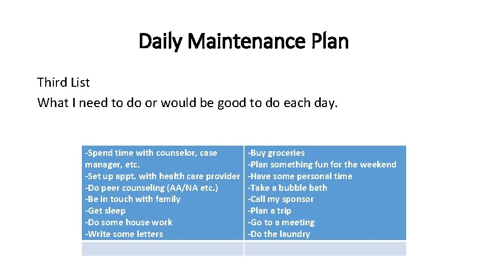 Daily Maintenance Plan Third List What I need to do or would be good