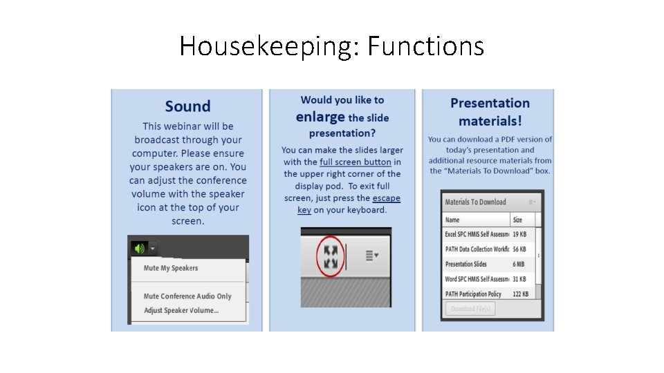 Housekeeping: Functions