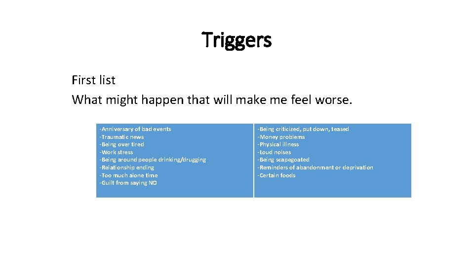 Triggers First list What might happen that will make me feel worse. -Anniversary of