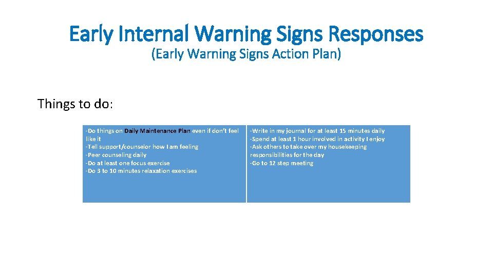 Early Internal Warning Signs Responses (Early Warning Signs Action Plan) Things to do: -Do