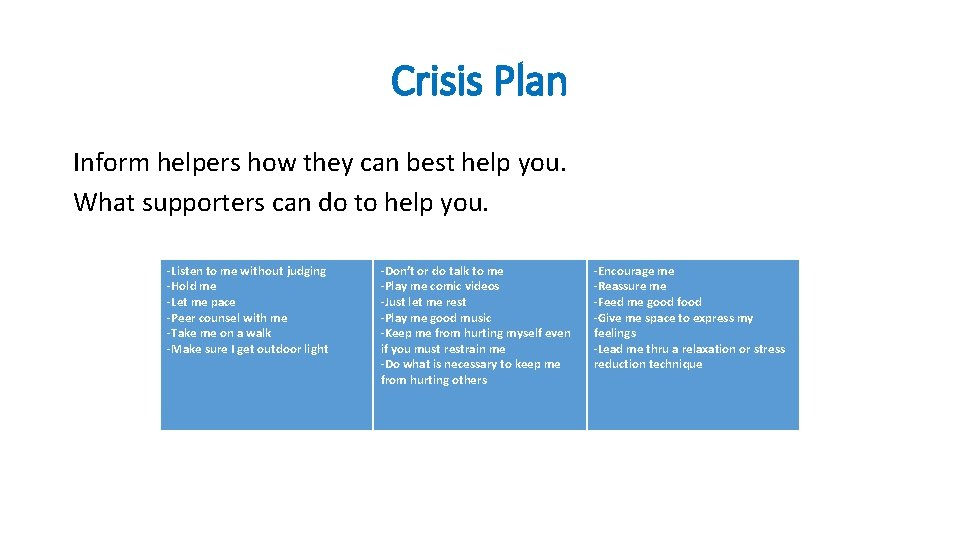 Crisis Plan Inform helpers how they can best help you. What supporters can do