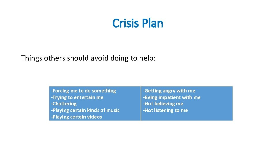 Crisis Plan Things others should avoid doing to help: -Forcing me to do something