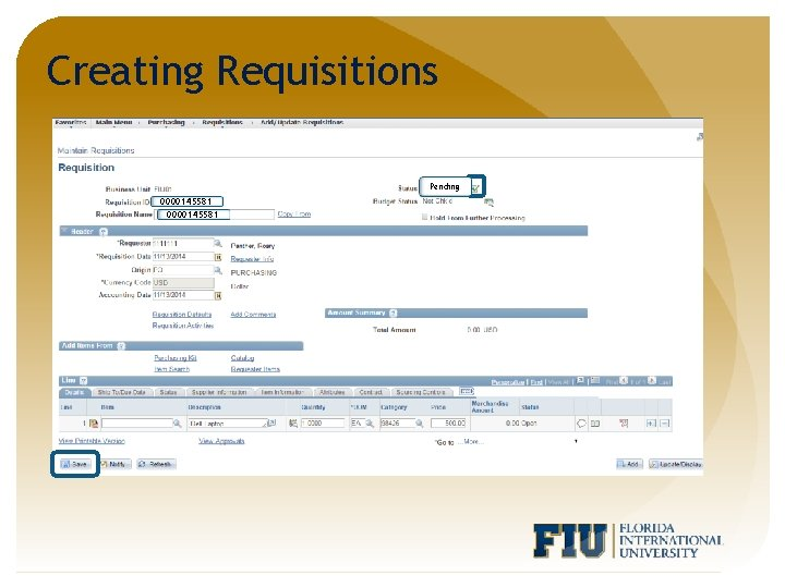 Creating Requisitions Pending 0000145581