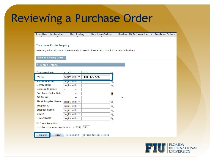 Reviewing a Purchase Order 0000129724