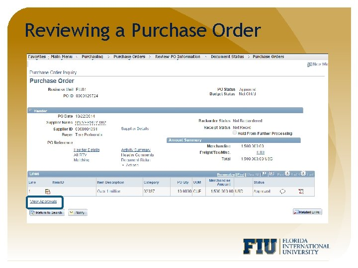 Reviewing a Purchase Order