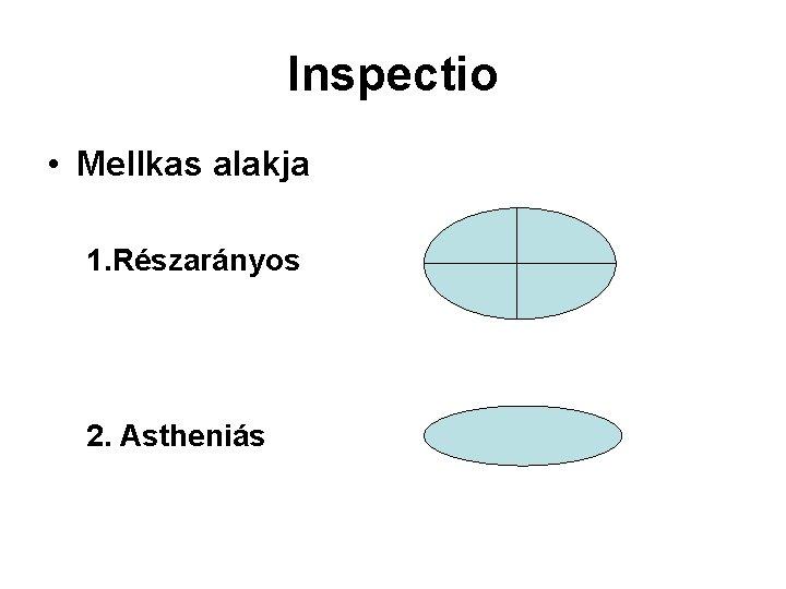 Inspectio • Mellkas alakja 1. Részarányos 2. Astheniás