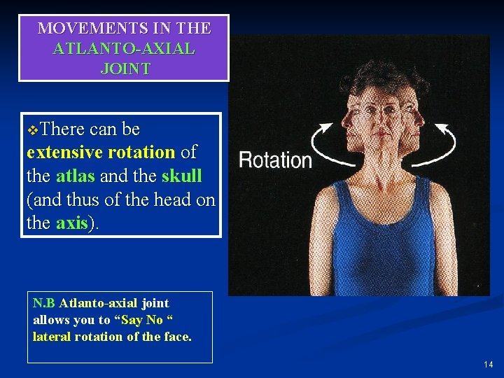 MOVEMENTS IN THE ATLANTO-AXIAL JOINT v. There can be extensive rotation of the atlas
