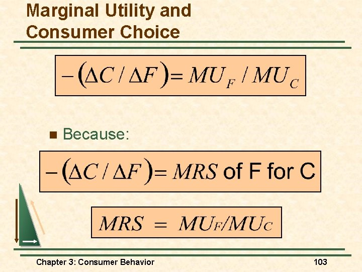 Marginal Utility and Consumer Choice n Because: Chapter 3: Consumer Behavior 103