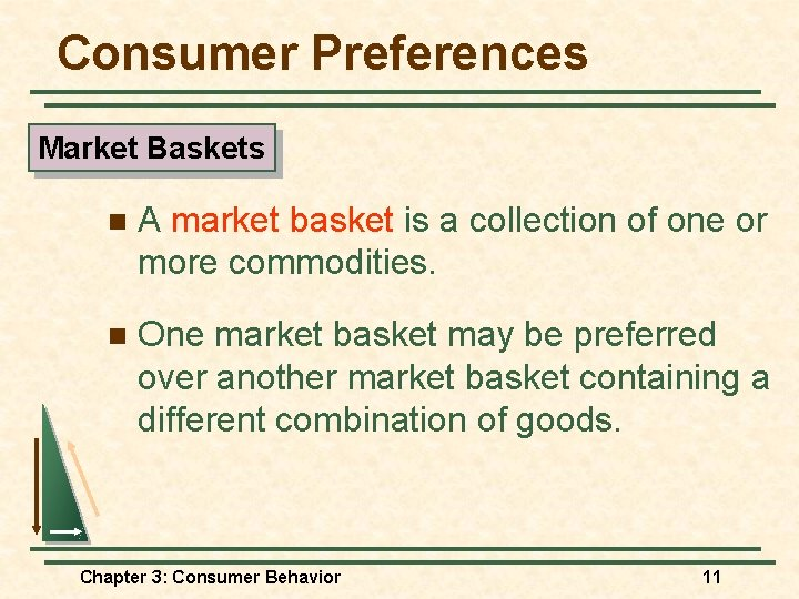 Consumer Preferences Market Baskets n A market basket is a collection of one or