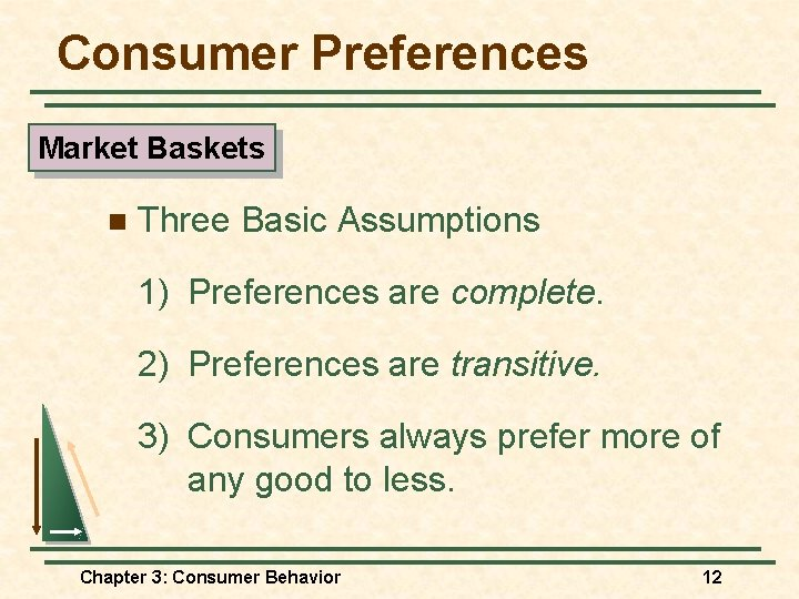 Consumer Preferences Market Baskets n Three Basic Assumptions 1) Preferences are complete. 2) Preferences