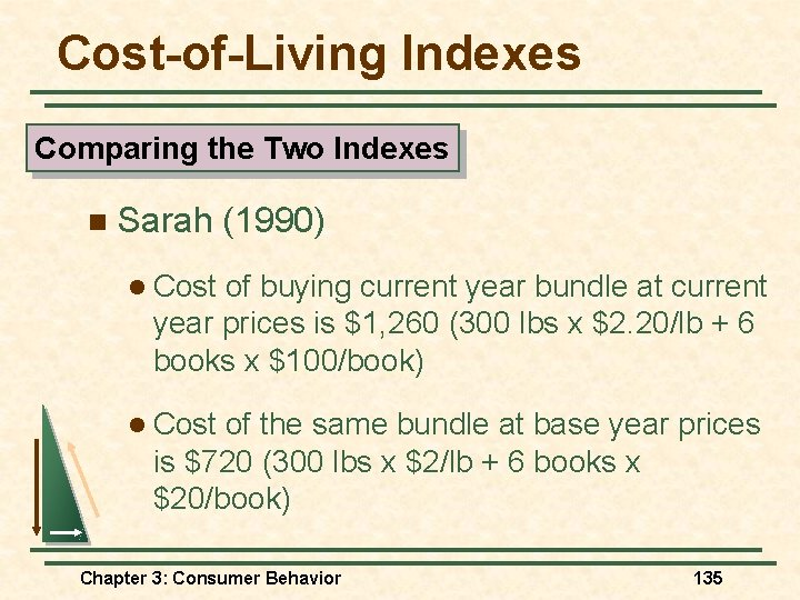 Cost-of-Living Indexes Comparing the Two Indexes n Sarah (1990) l Cost of buying current