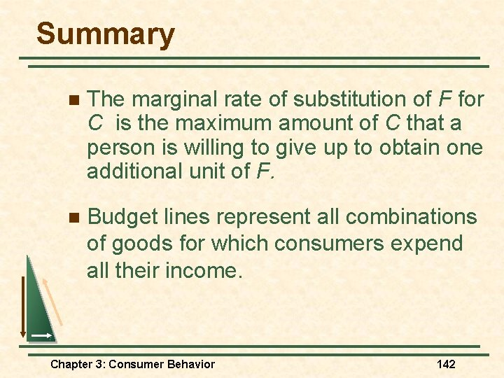Summary n The marginal rate of substitution of F for C is the maximum