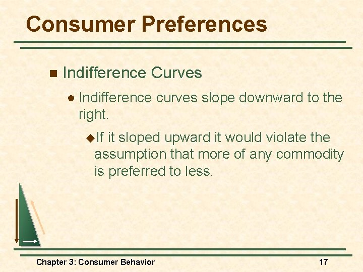 Consumer Preferences n Indifference Curves l Indifference curves slope downward to the right. u.
