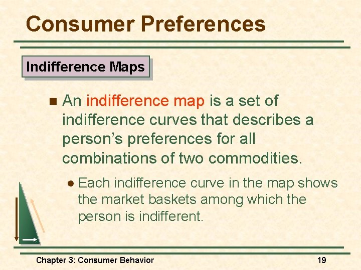 Consumer Preferences Indifference Maps n An indifference map is a set of indifference curves