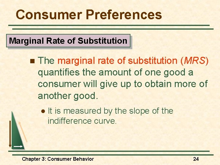 Consumer Preferences Marginal Rate of Substitution n The marginal rate of substitution (MRS) quantifies
