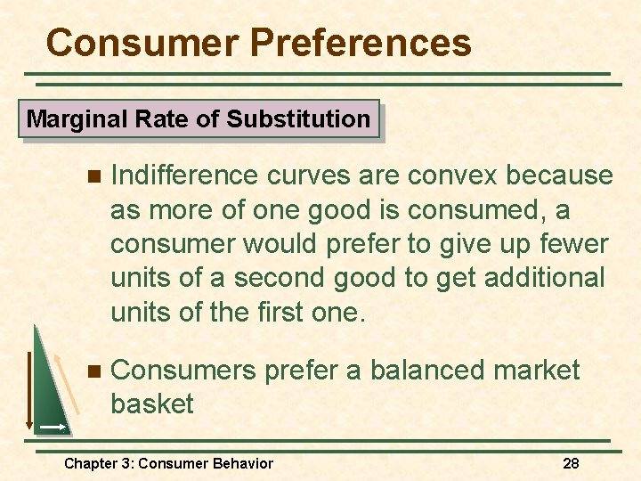 Consumer Preferences Marginal Rate of Substitution n Indifference curves are convex because as more