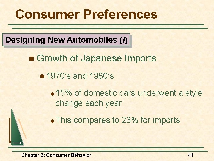 Consumer Preferences Designing New Automobiles (I) n Growth of Japanese Imports l 1970's u