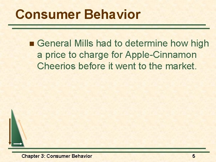 Consumer Behavior n General Mills had to determine how high a price to charge