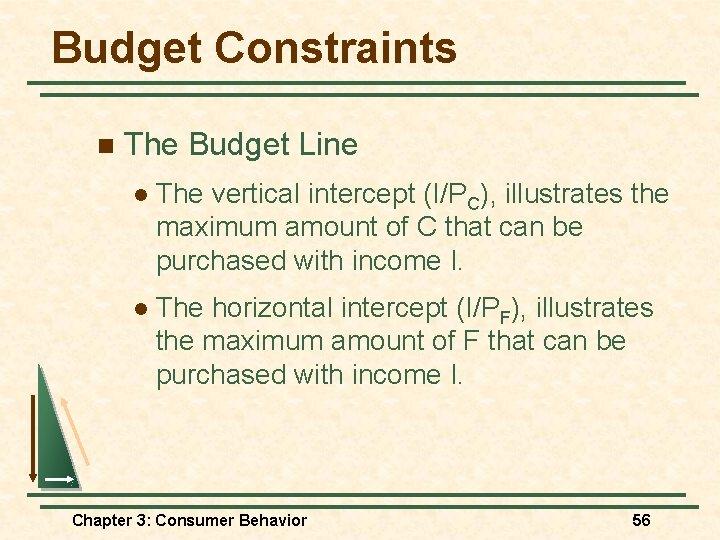 Budget Constraints n The Budget Line l The vertical intercept (I/PC), illustrates the maximum