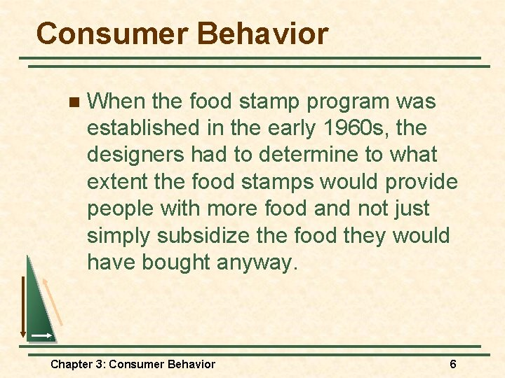 Consumer Behavior n When the food stamp program was established in the early 1960