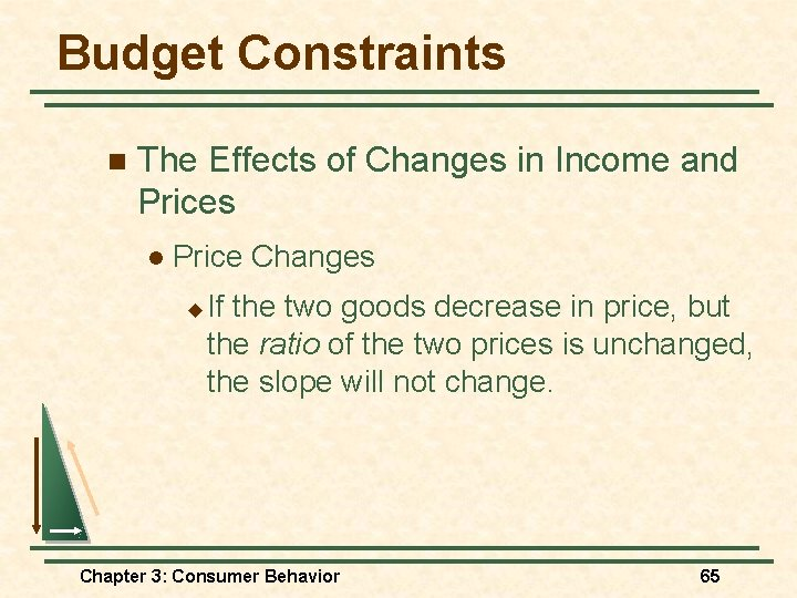 Budget Constraints n The Effects of Changes in Income and Prices l Price Changes