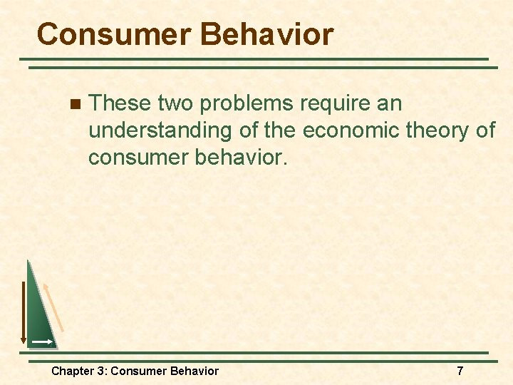Consumer Behavior n These two problems require an understanding of the economic theory of