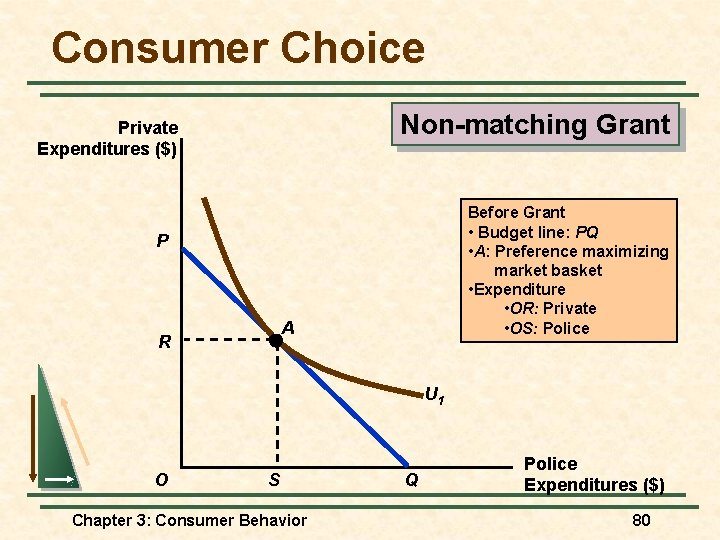 Consumer Choice Non-matching Grant Private Expenditures ($) Before Grant • Budget line: PQ •
