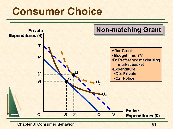 Consumer Choice Non-matching Grant Private Expenditures ($) T After Grant • Budget line: TV