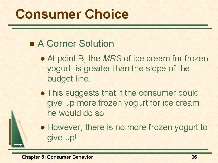 Consumer Choice n A Corner Solution l At point B, the MRS of ice