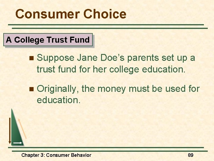 Consumer Choice A College Trust Fund n Suppose Jane Doe's parents set up a